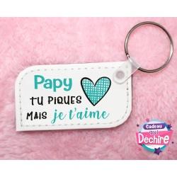 """Porte-clé """"Papy tu piques"""""""