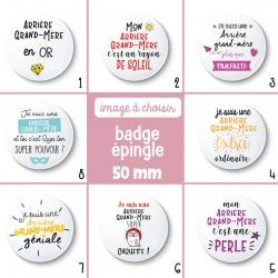 Badge épingle arrière grand-mère - 50 mm - Choix de l'image