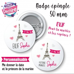 Badge EVJF Paris Tour Eiffel personnalisable