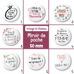 Miroir de poche demande en mariage - 50 mm - Choix de l'image