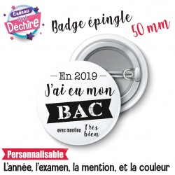 "Badge épingle "" j'ai eu mon bac """