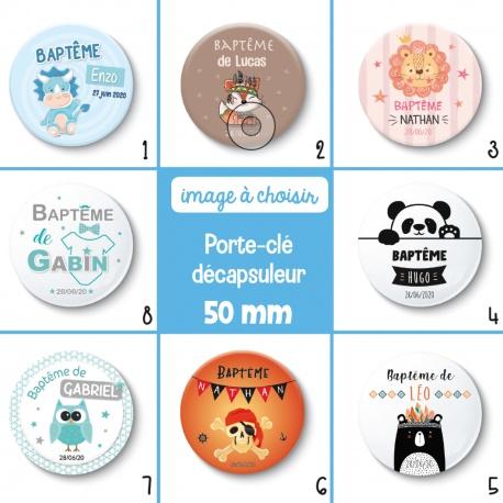 Porte-clé décapsuleur thème garçon : baptême ou anniversaire - 50 mm - Choix de l'image