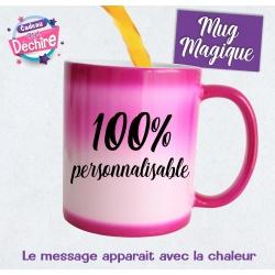 Mug magique rose 100 % personnalisable