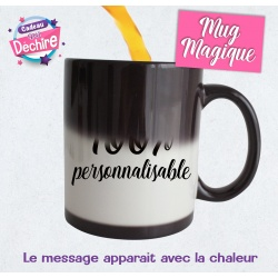 Mug magique noir 100 % personnalisable