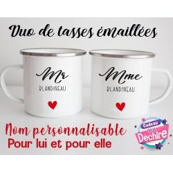 Tasse émaillée duo pour Madame & Monsieur