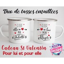 Tasse émaillée duo Roméo & Juliette