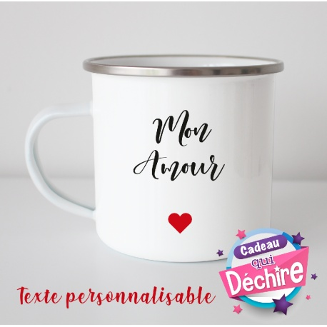"""Tasse émaillée """" Mon Amour"""""""