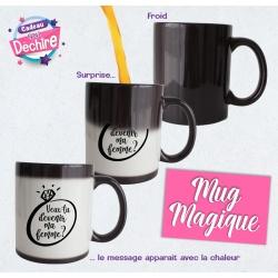 Mug magique noir demande en mariage