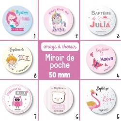 Miroir de poche thème fille : baptême ou anniversaire - 50 mm - Choix de l'image