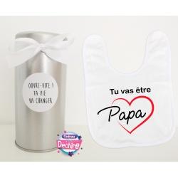 """Bavoir """"tu vas être papa"""" avec sa boîte pour offrir"""