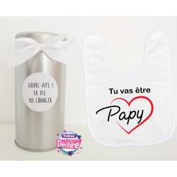 """Bavoir """"tu vas être papy"""" avec sa boîte pour offrir"""