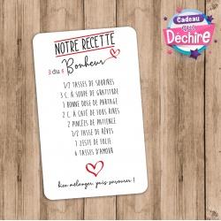 """Carte """" Notre recette du bonheur """""""