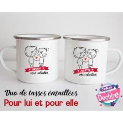 Tasse émaillée duo Saint Valentin