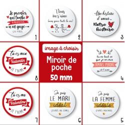 Miroir de poche Saint Valentin - 50 mm - Choix de l'image