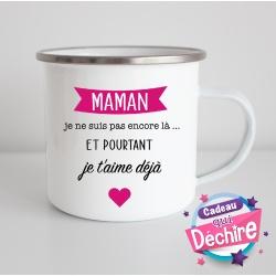 Tasse émaillée pour la future maman