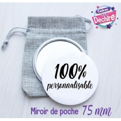 Miroir de poche 75 mm 100% personnalisable