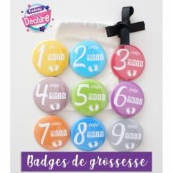 Badge de grossesse mois - 50 mm ou 75 mm