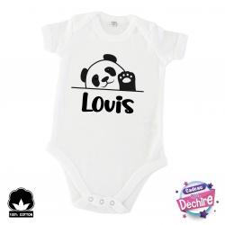 Body bébé panda +  prénom personnalisable