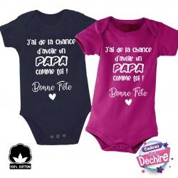 """Body bébé """" Bonne fête Papa """" - Choix de la couleur"""