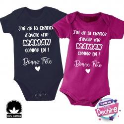 """Body bébé """" Bonne fête Maman """" - Choix de la couleur"""