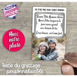 """Ticket carte à gratter """" Mot pour maman """" + photo"""