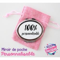 Miroir de poche ovale 100 % personnalisable